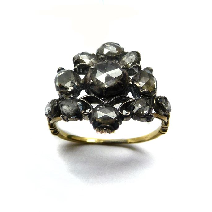 Antique rose diamond fancy cluster ring, as a vase of flowers with silver scrollwork | MasterArt